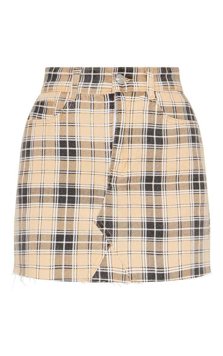 Stone Check Denim Skirt 3