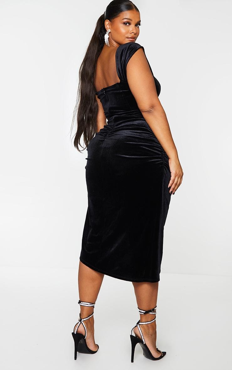 Plus Black Velvet Bardot Corset Detail Midi Dress 2