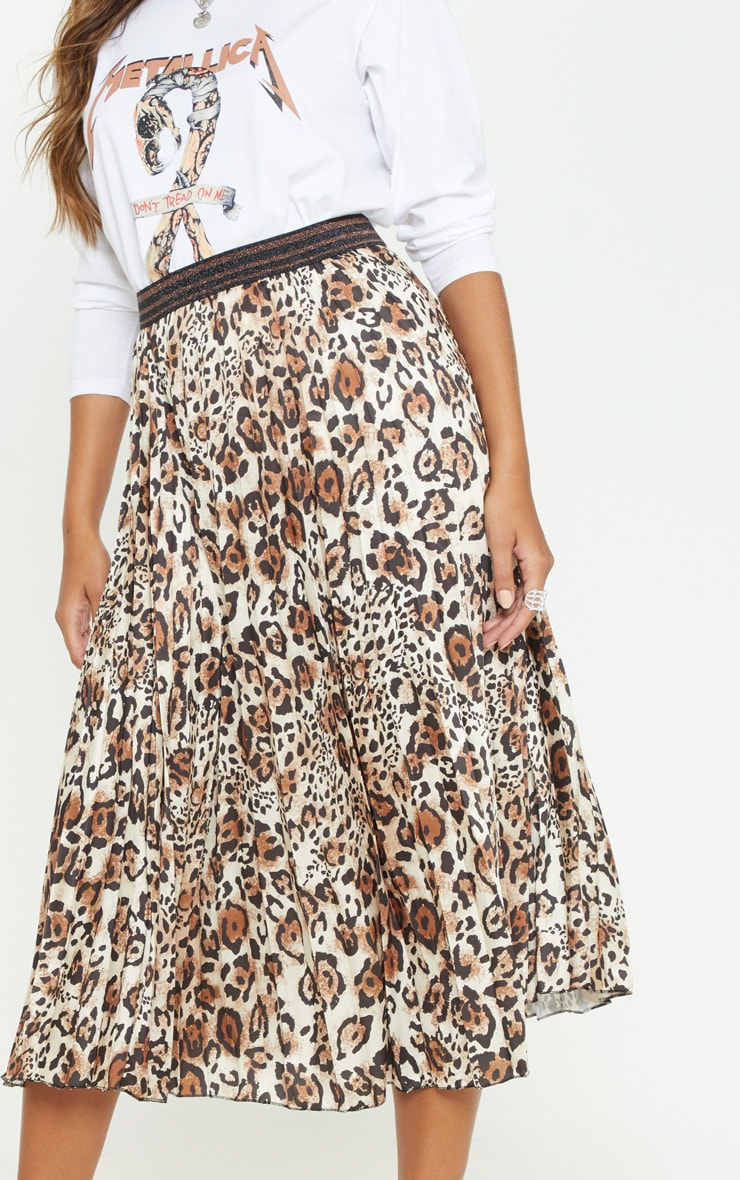 Brown Pleated Leopard Skirt  5