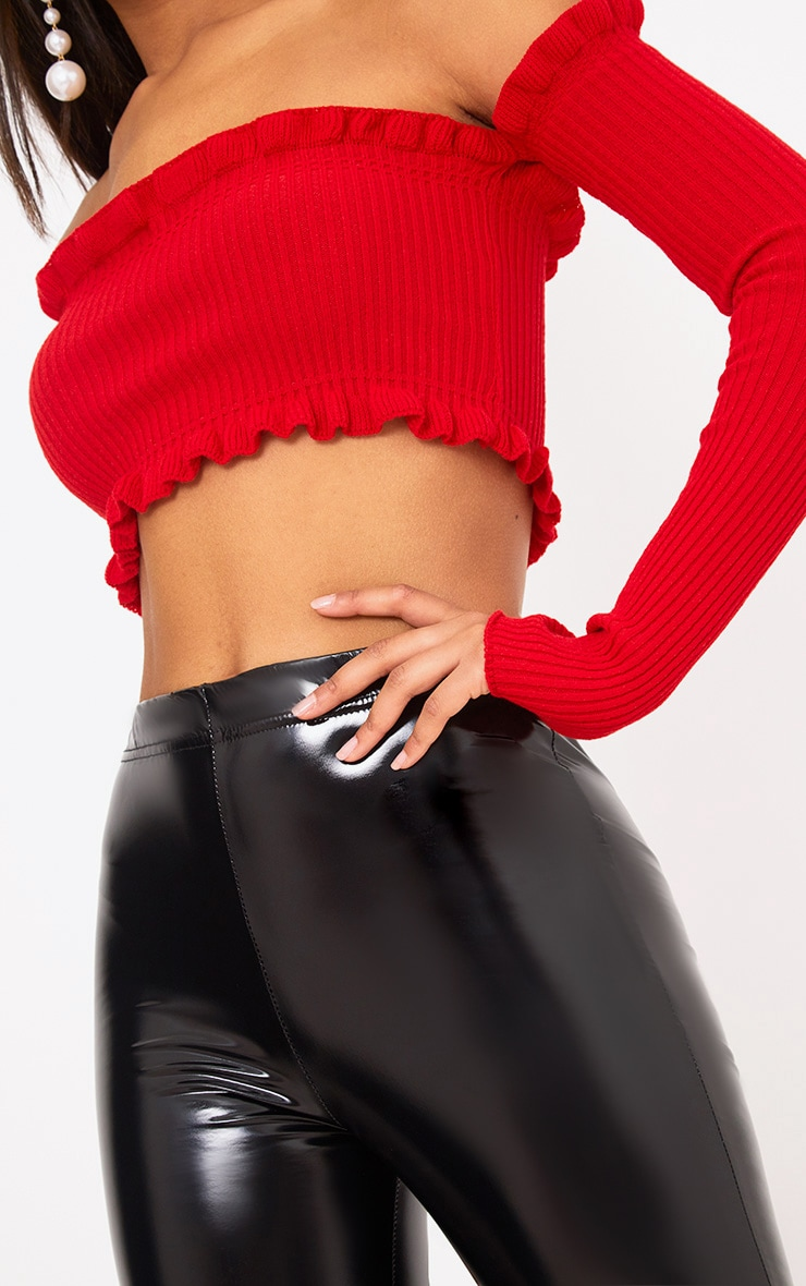 Red Ruffle Detail Knit Bardot Long Sleeve Top 5