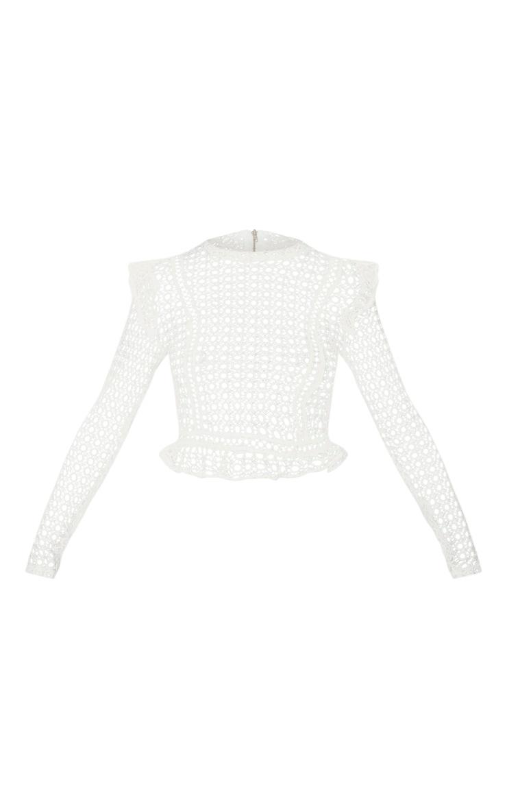 White Crochet High Neck Blouse  3