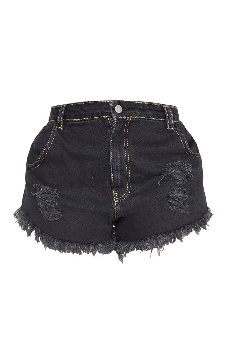 Shape Charcoal Distressed Denim Shorts 3