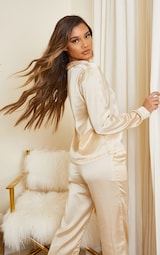 Champagne Mix And Match Piped Detail Satin Long Sleeve PJ Shirt 2