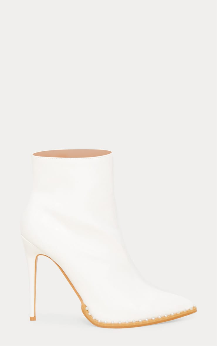 White Pearl Embellished Ankle Boot 4