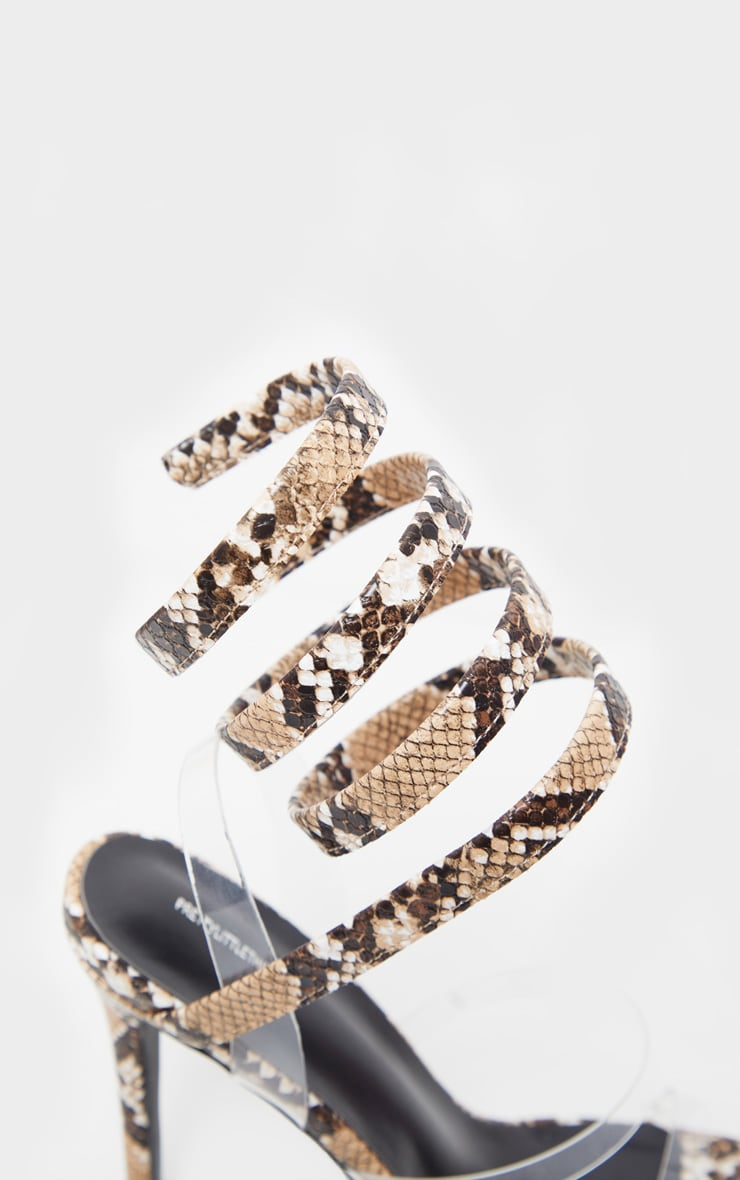 Snake Ankle Wrap Strappy Heeled Sandal 4