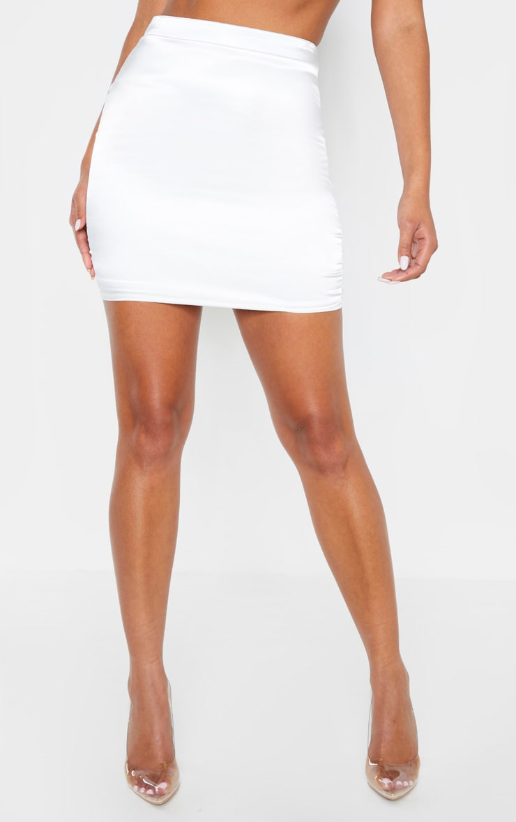 White Satin High Waisted Mini Skirt 2