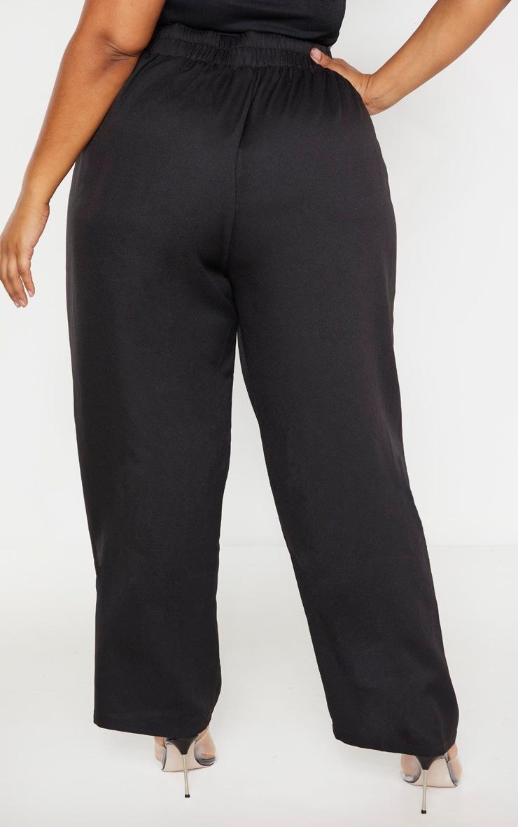 Plus Black Ruched Waist Pants 3