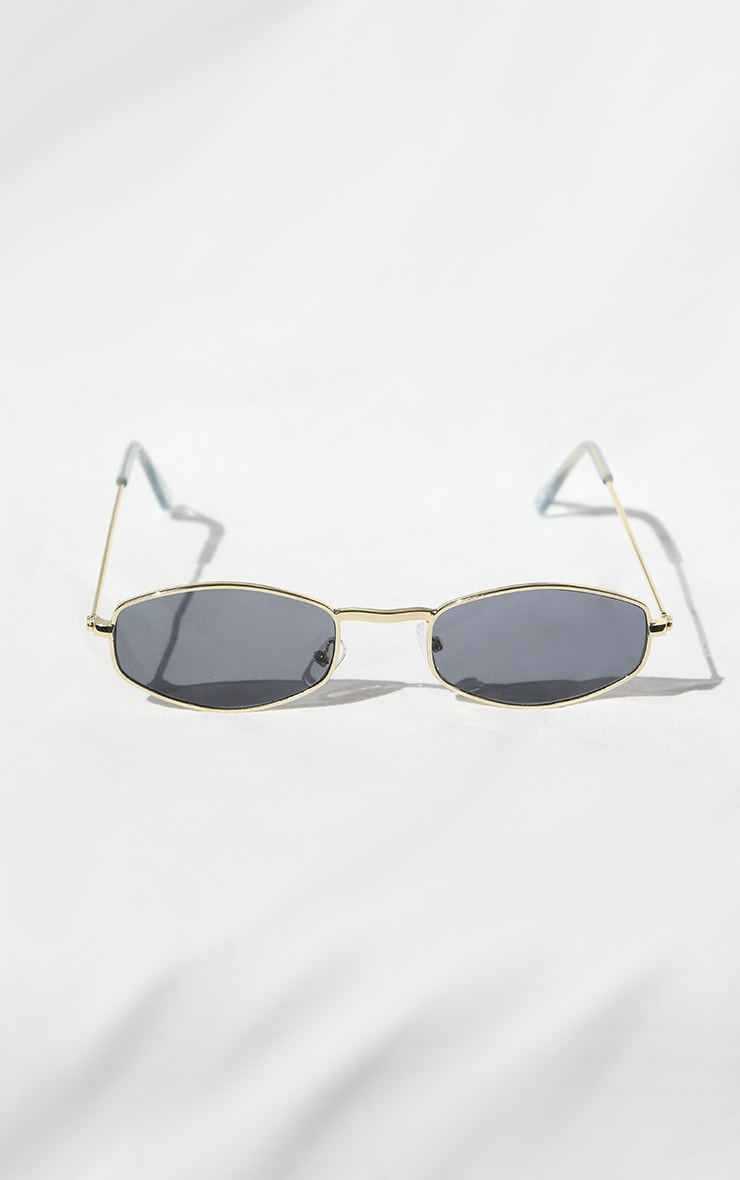 Gold Rim Thin Hexagon Sunglasses 1