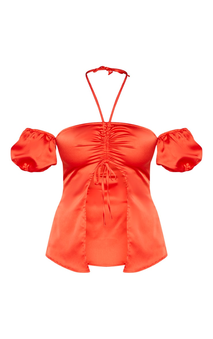 Petite Red Satin Ruched Open Front Top  3