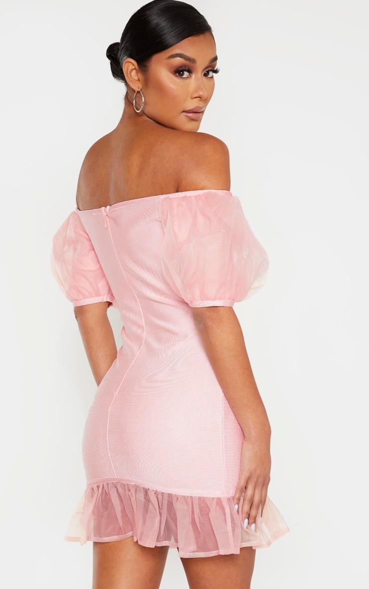 Blush Bandage Chiffon Frill Puff Sleeve Bodycon Dress 2