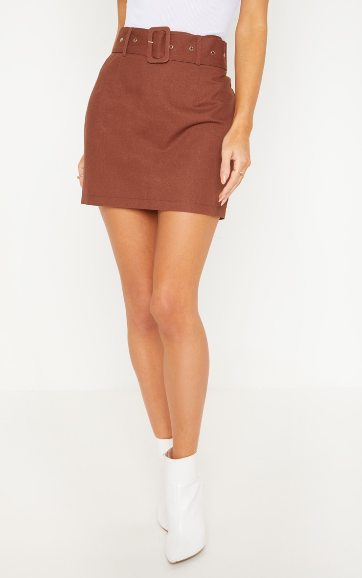 Chocolate Belted Cargo Mini Skirt 2