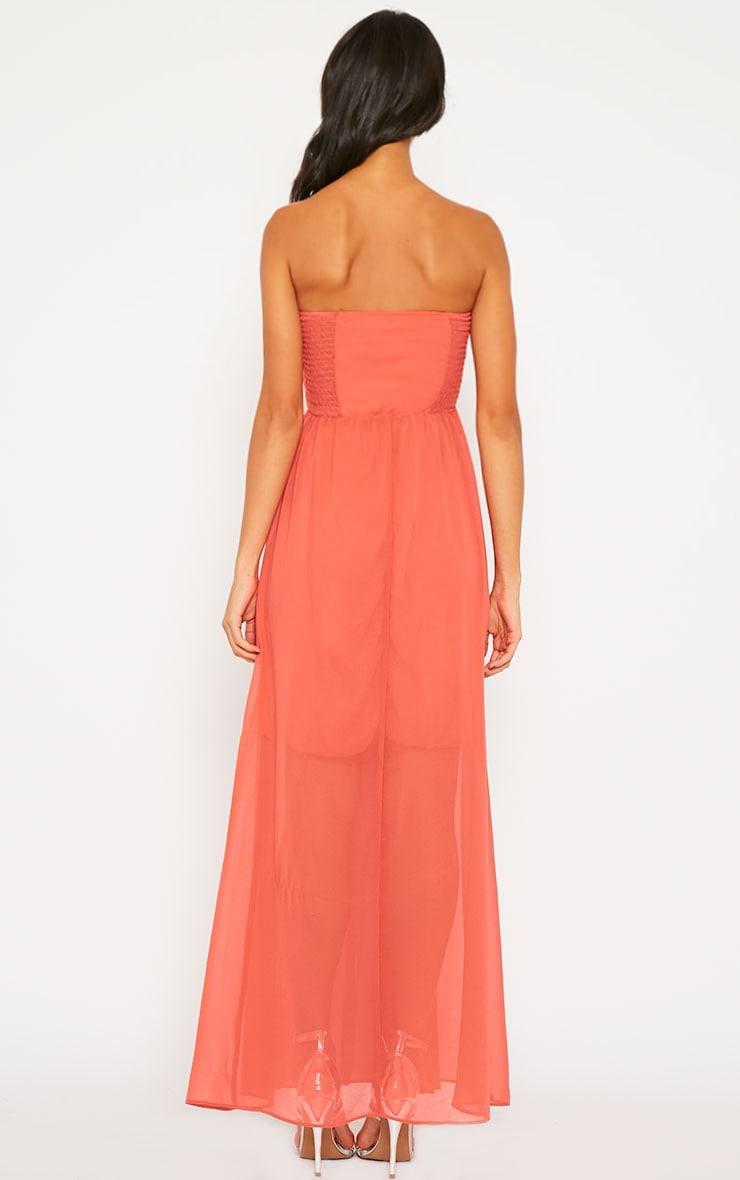 Brigette Coral Bandeau Maxi Dress 2