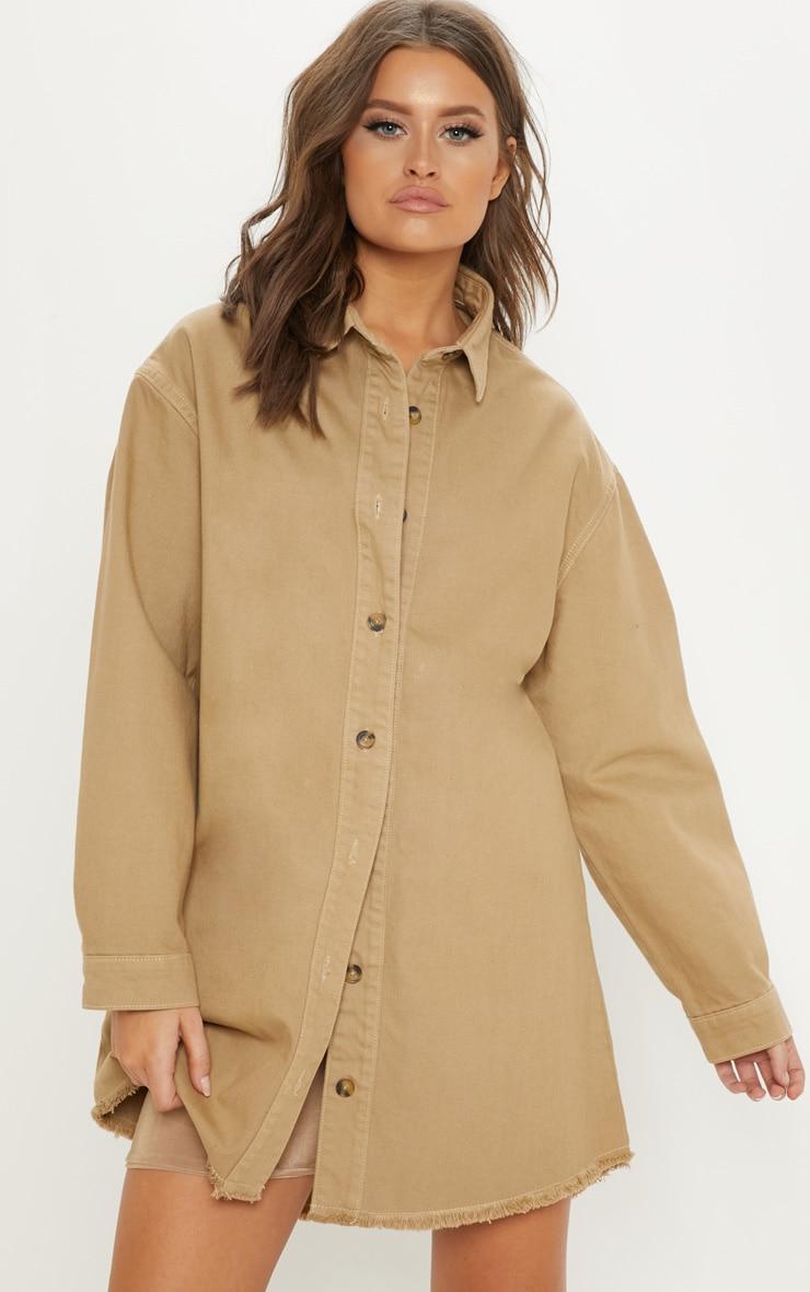 f2d2d63009 Stone Longline Button Through Denim Shirt Dress image 1