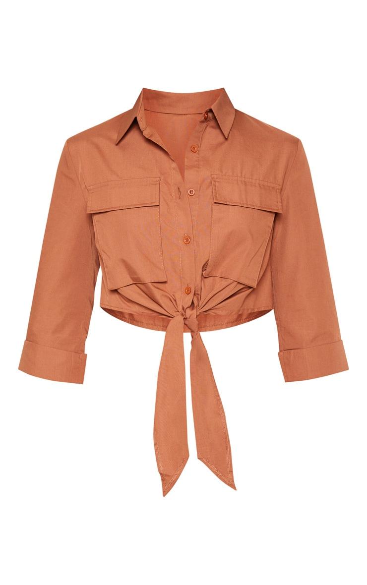 Chemise marron clair nouée style militaire à poches 3