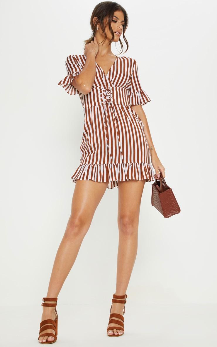 Rust Stripe Corset Swing Dress 4