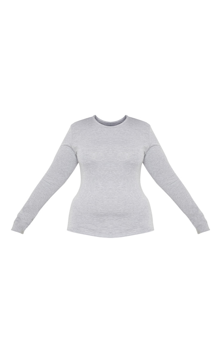 Plus Grey Marl Long Sleeve Fitted T Shirt 3