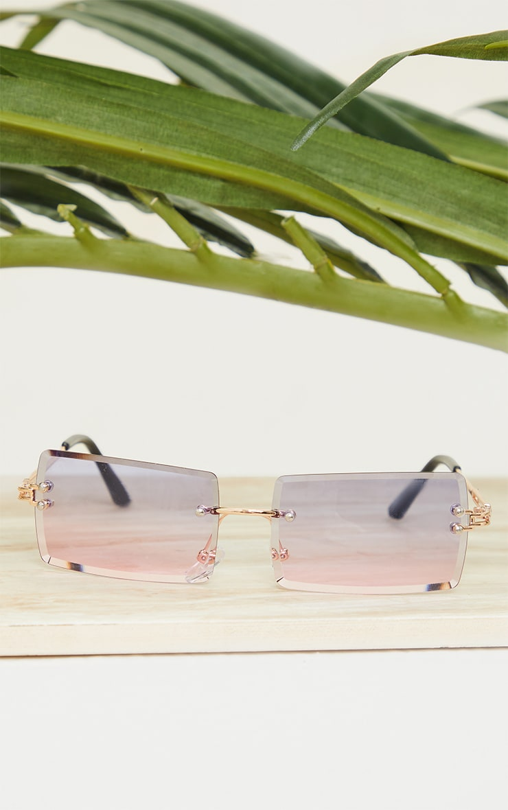 Blue With Pink Faded Lens Square Frameless Sunglasses 2