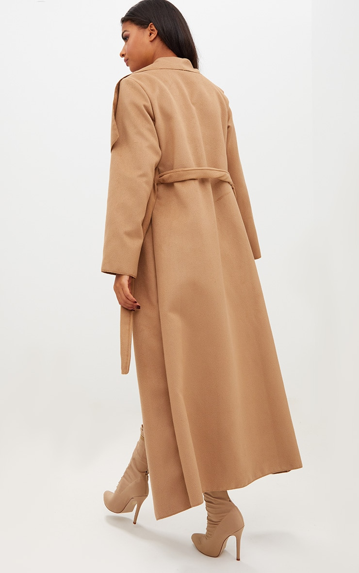 Camel Maxi Length Oversized Waterfall Belted Coat 2