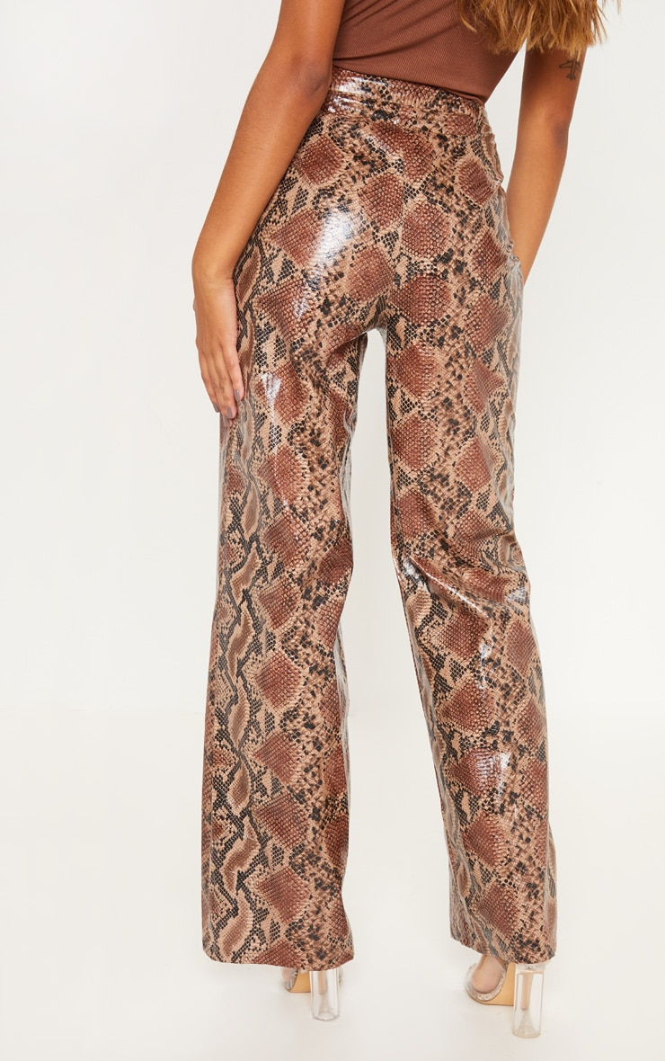 Tan Faux Leather Snakeskin Wide Leg Trouser 4