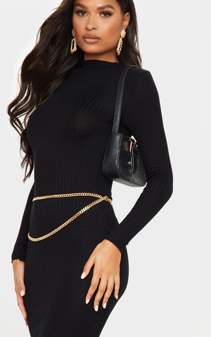 Black Rib Knitted Midi Dress 5