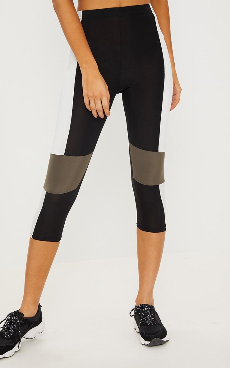 Black Slinky Colour Block Panel Cropped Legging 2