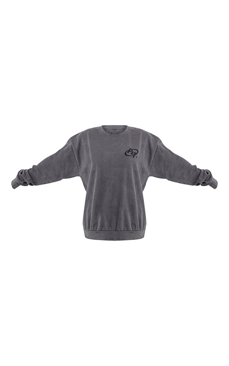PRETTYLITTLETHING Grey Logo Washed Sweatshirt 5