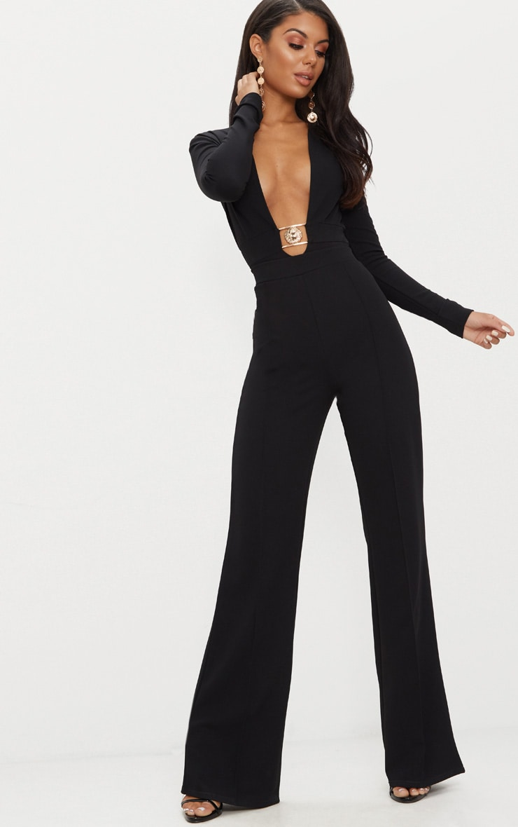 Black Lion Clasp Plunge Long Sleeve Bodysuit 5