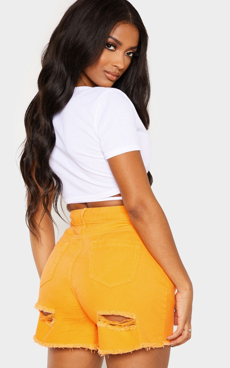 Shape White Ribbed Short Sleeve Wrap Waist Crop Top 2