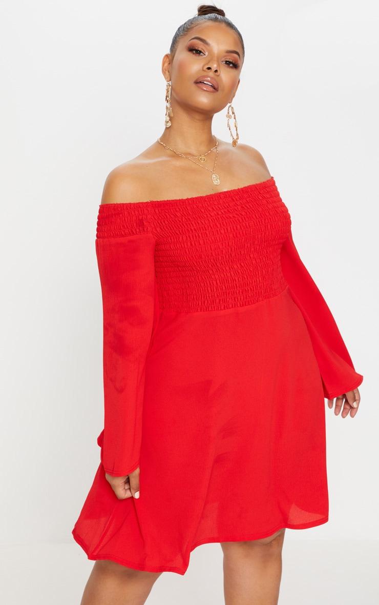 af27ad436b4 Plus Red Shirred Bardot Swing Dress | PrettyLittleThing USA