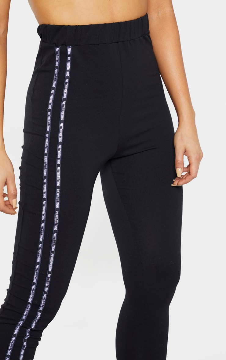 PRETTYLITTLETHING Tall Black Taping Legging  5