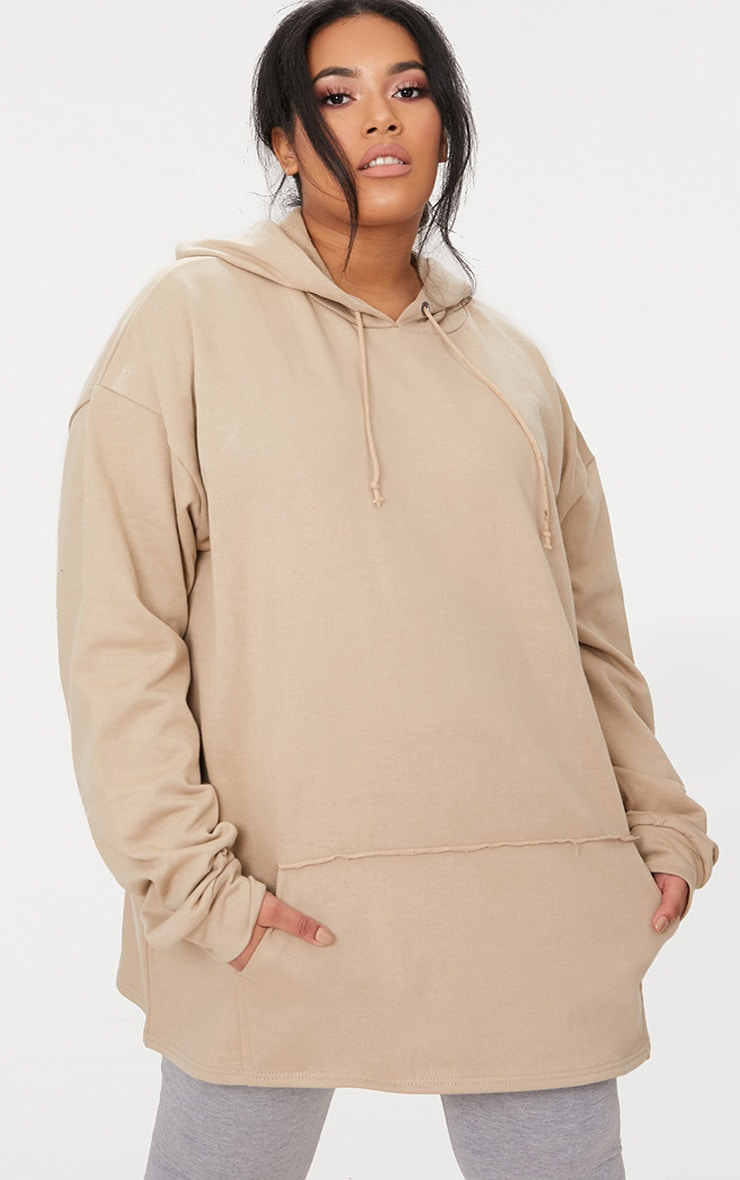 Plus Taupe Oversized Hoodie 1