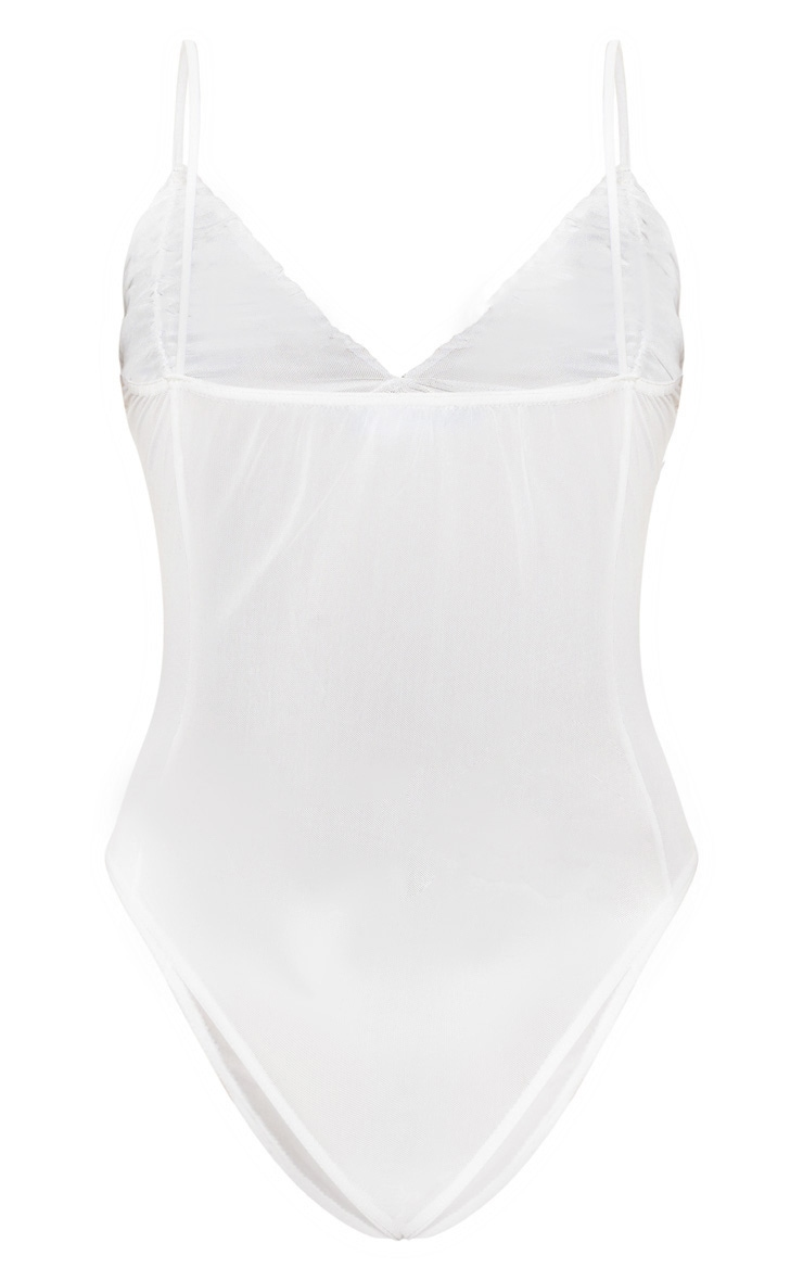 White Mesh Ruched Bust Bodysuit 4