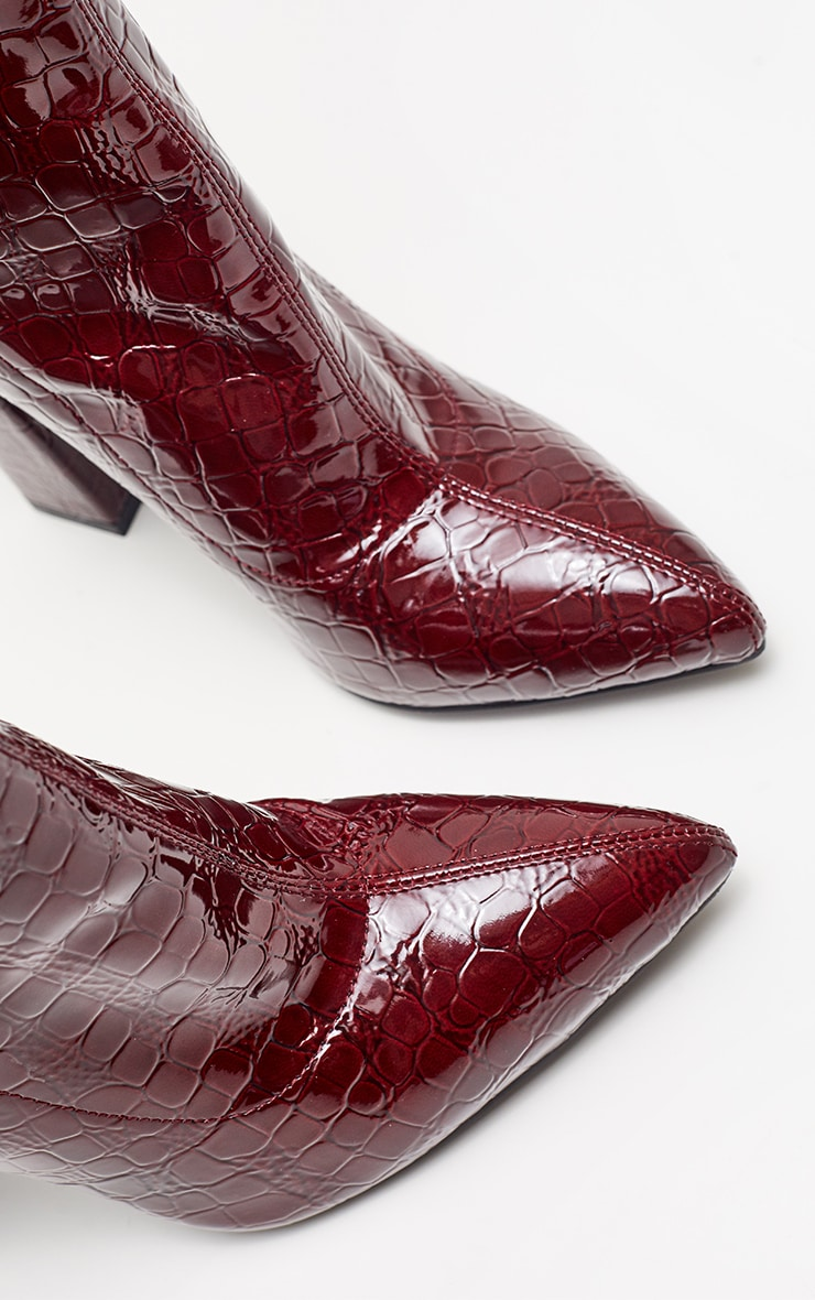 Burgundy Block Heel Point Boot  4