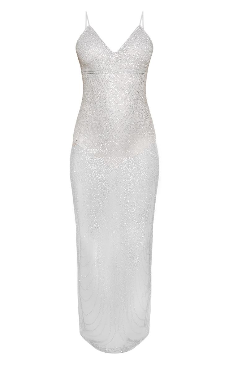 Silver Sheer Glitter Maxi Dress 3