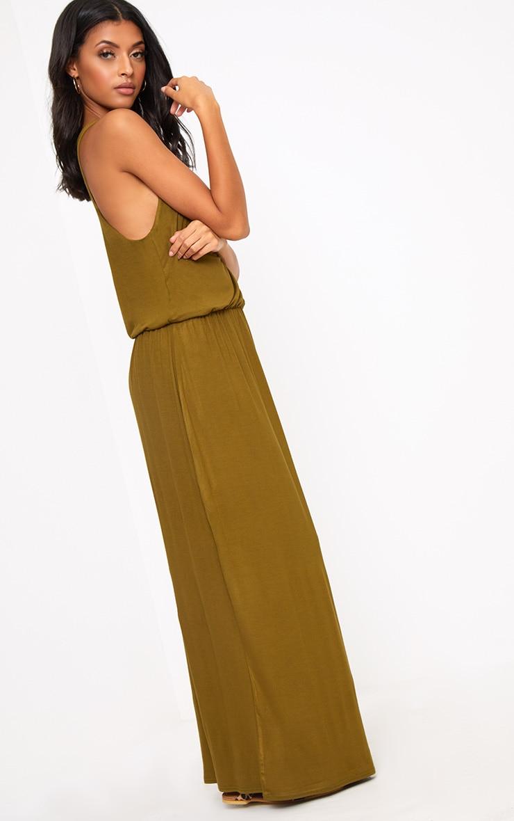 Dark Olive Bagged Over Maxi Dress 4