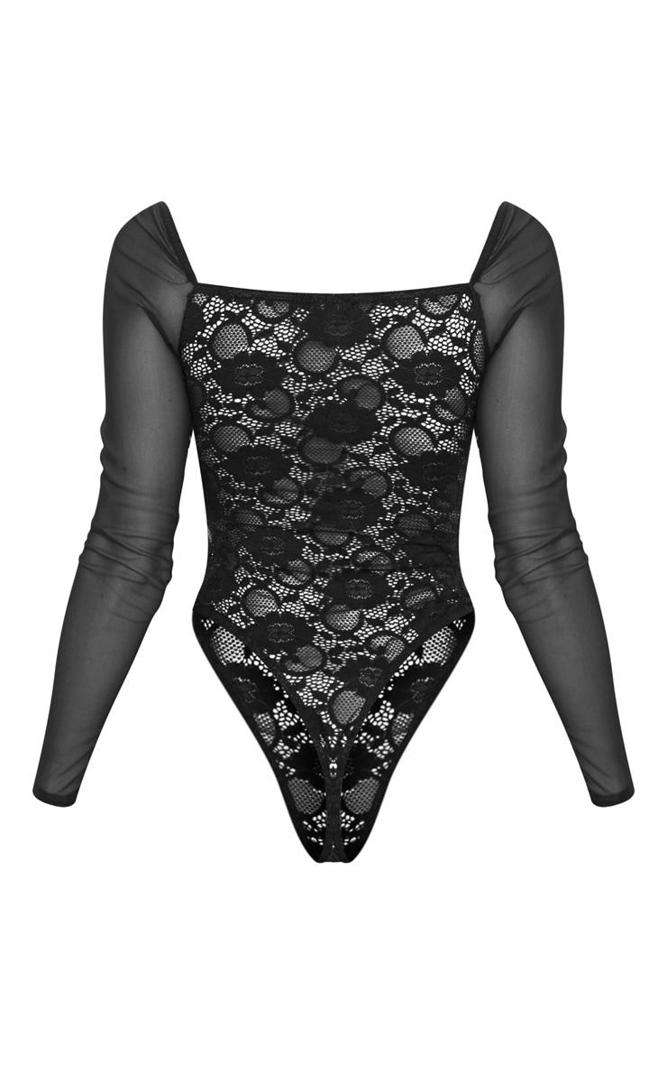 Black Chiffon Sleeve Lace Bodysuit  4