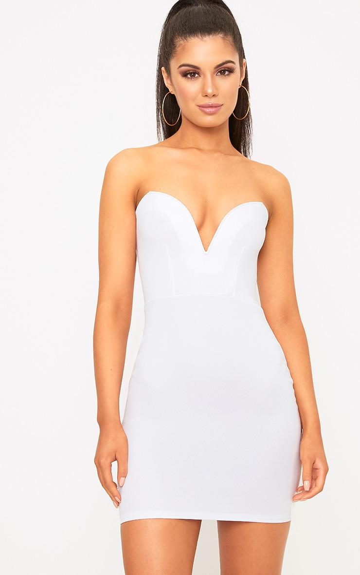 White Bandeau Bodycon Dress  1