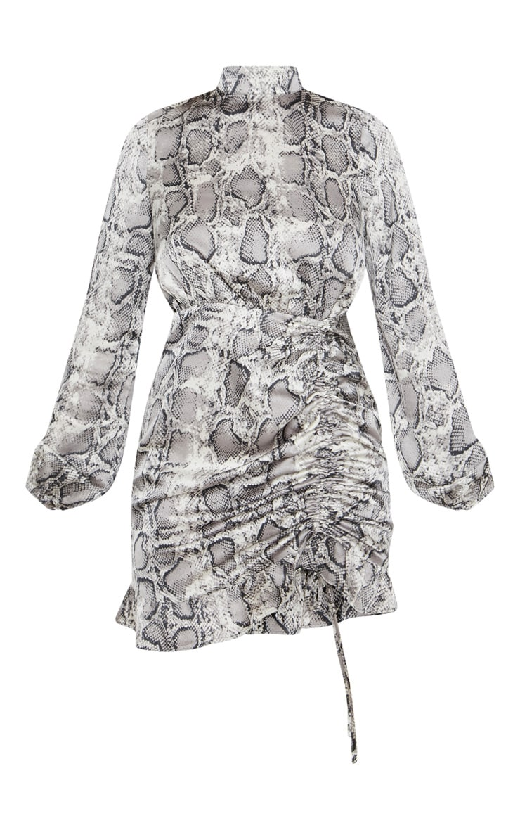 Grey Snake Print Satin High Neck Ruched Bodycon Dress 3