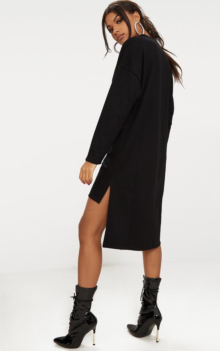 Black Loop Back Step Hem Sweater Dress 1