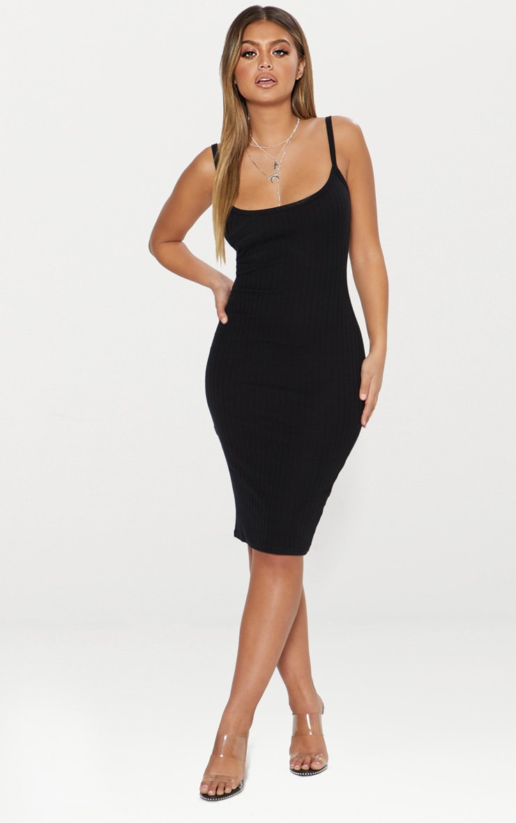 0fc40807aa17 Black Second Skin Thick Ribbed Scoop Neck Midi Dress ...