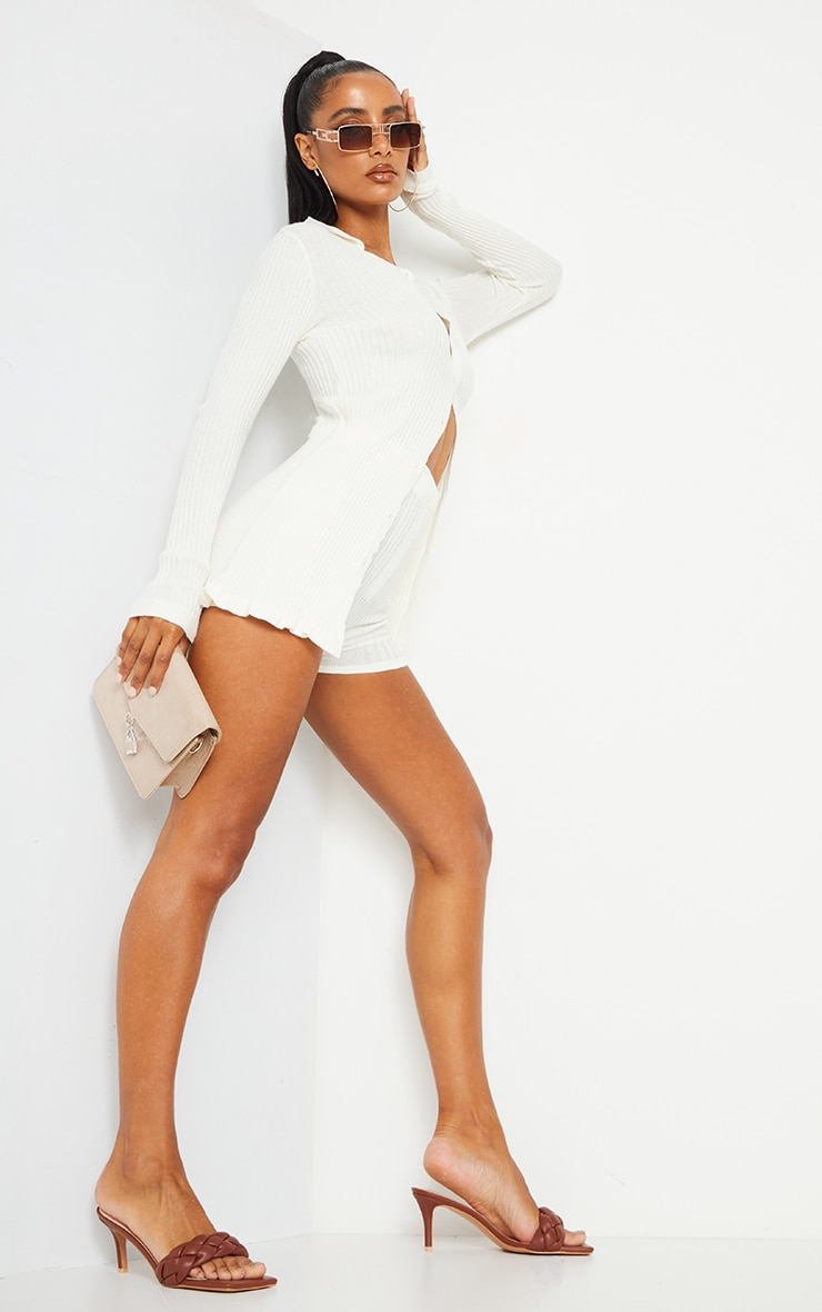 Cream Longline Ribbed Knitted Cardigan 3