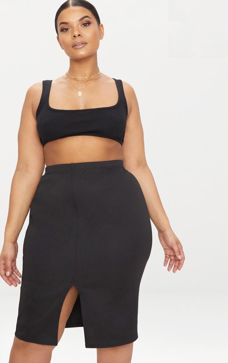 Plus Black Side Split Midi Skirt 1