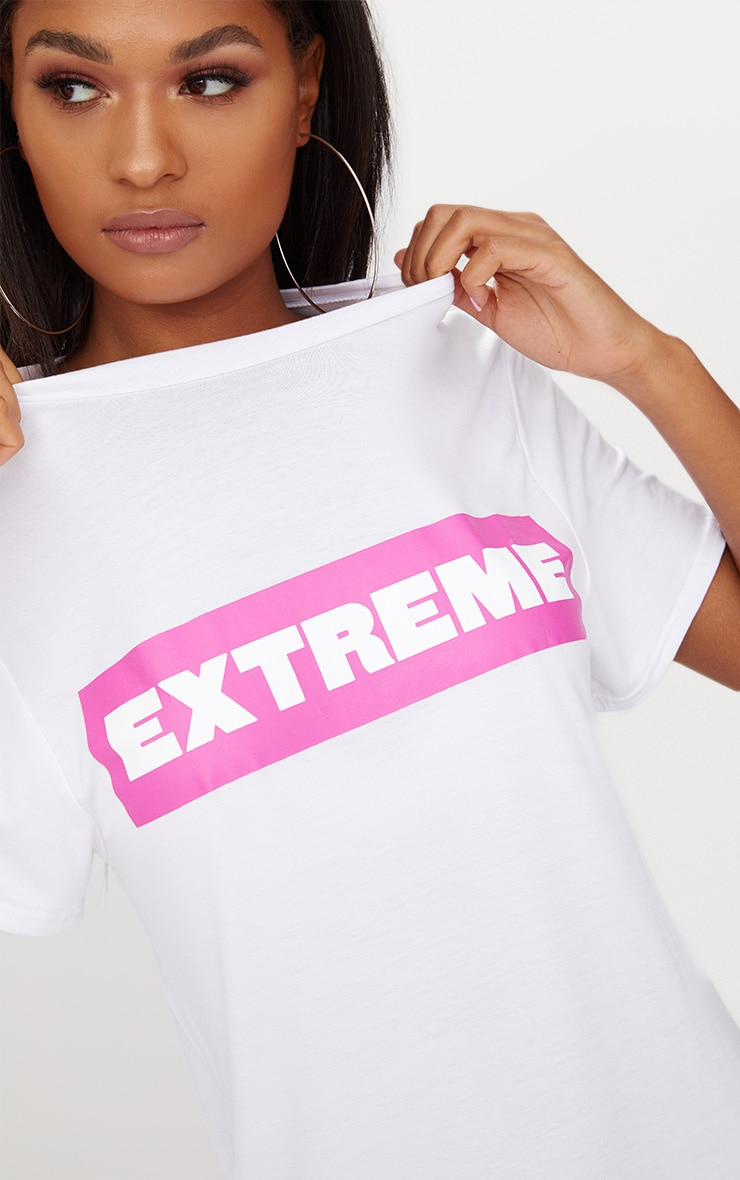 'Extreme' White T Shirt Dress 5
