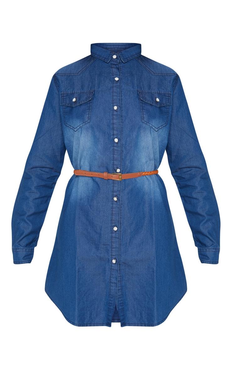 Dark Wash Belted Denim Shirt Dress  3