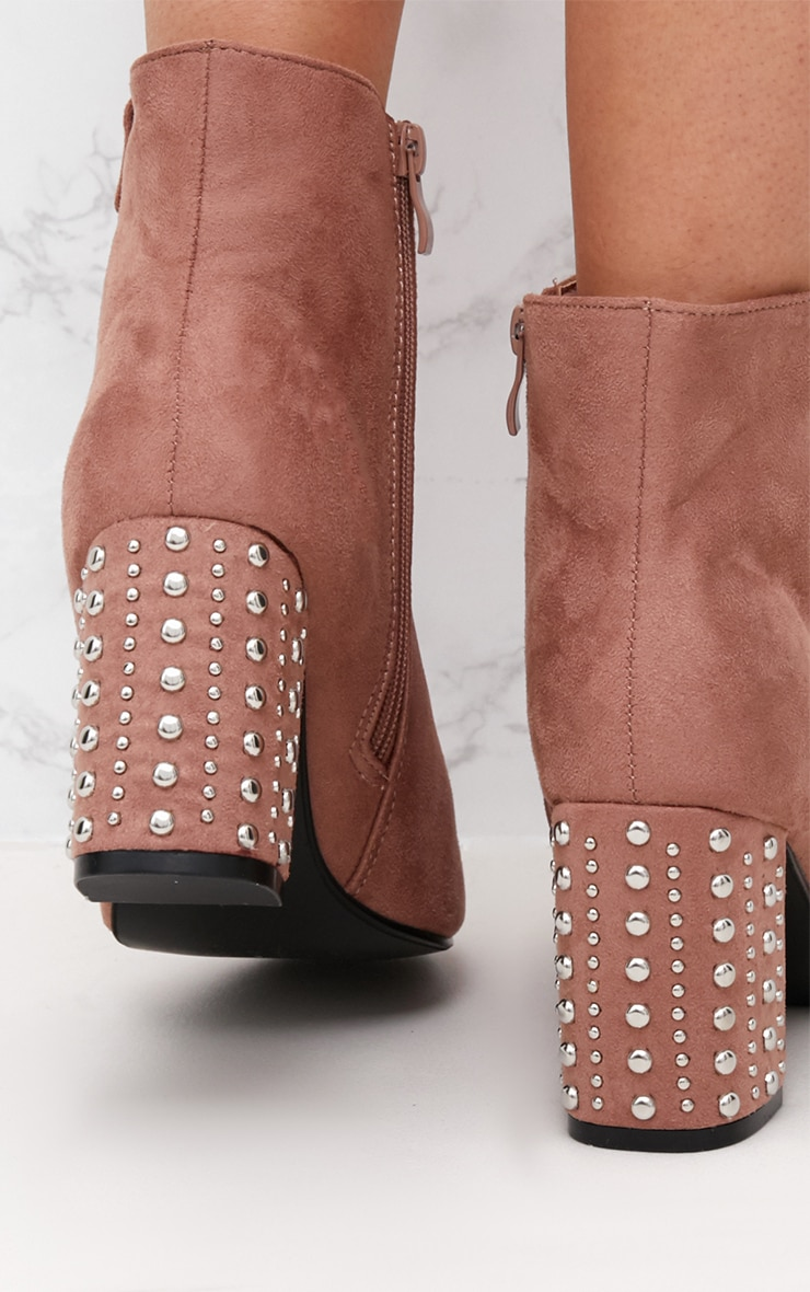 Blush Faux Suede Studded Heel Ankle Boots 5