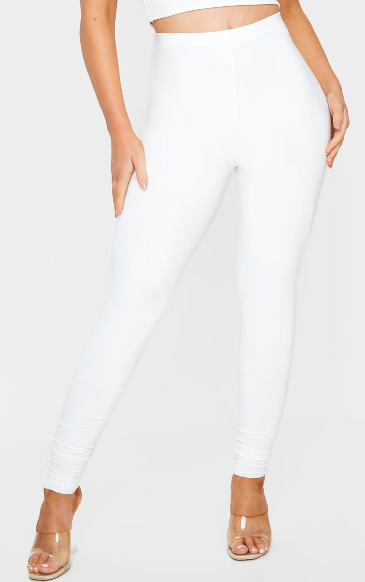 Cream Slinky High Waisted Leggings 2