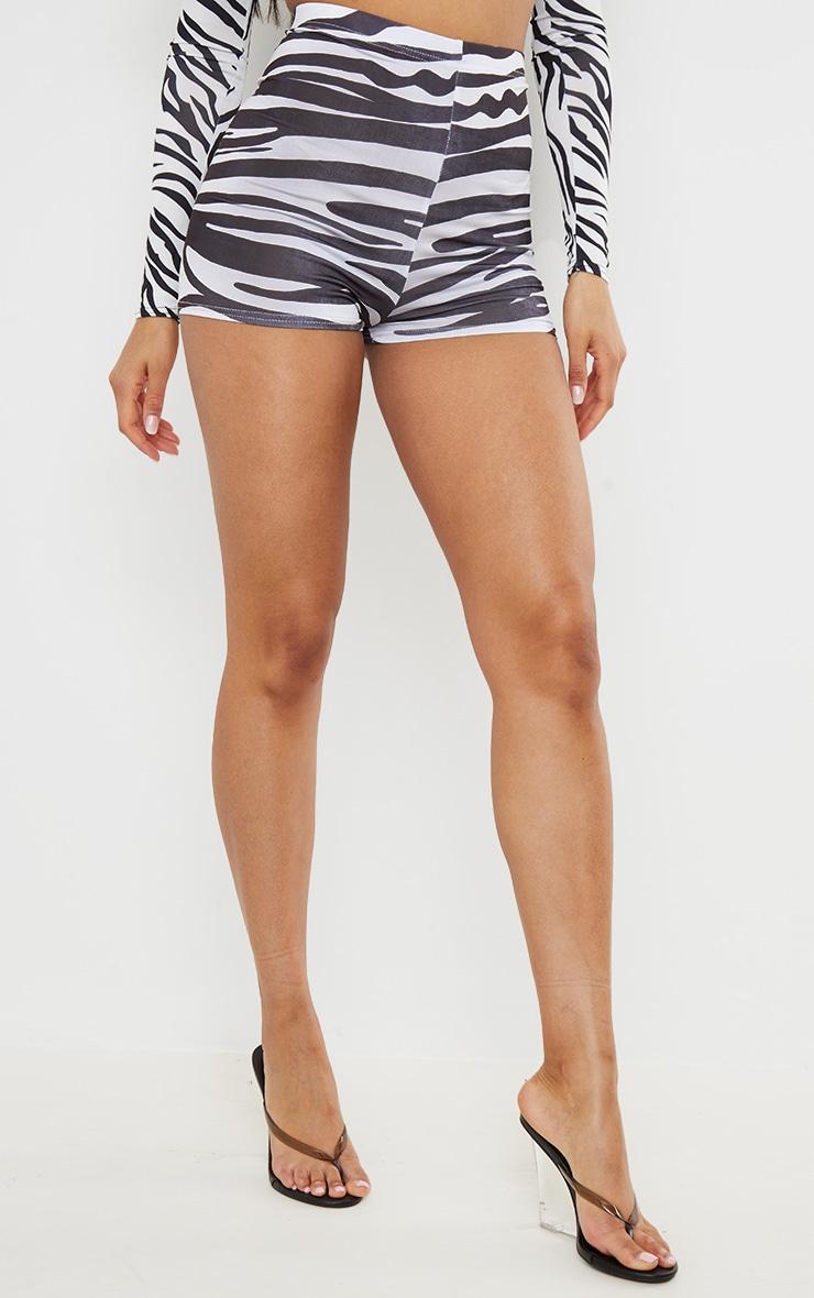 Black Zebra Printed Slinky Hot Pants 2