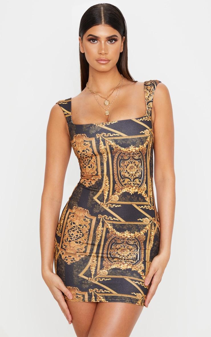 Robe moulante noire imprimé baroque sans manches à col carré 1