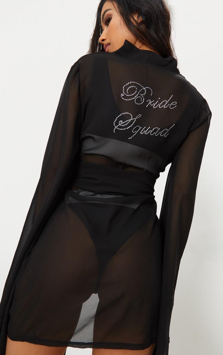 Bride Squad Black Chiffon Diamante Kimono 6