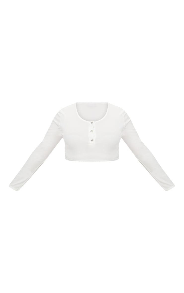 Plus White Ribbed Popper Detail Crop Top 3